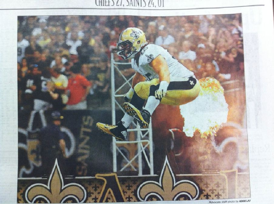 saints football fart newspaper perfect timing